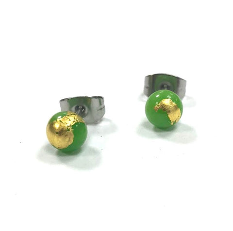 Apple Green and Gold Handmade Glass Stud Earrings