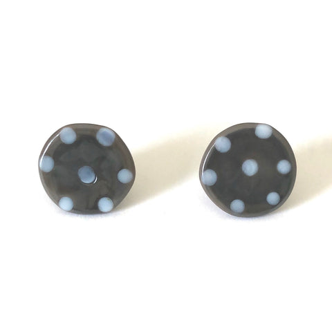 Dotty Grey Handmade Glass Button Stud Earrings
