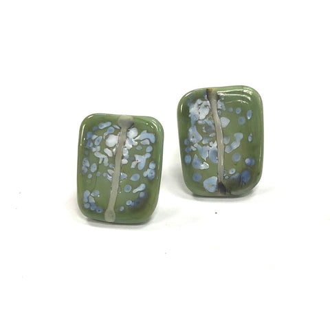 Snowy Olive Glass and Enamel Handmade Stud Earrings