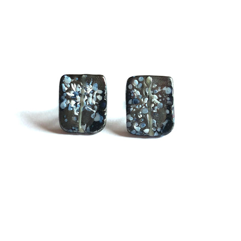 Snowy Sliver Black Glass and Enamel Handmade Stud Earrings