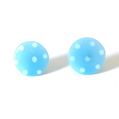 Dotty Ice Blue Handmade Glass Button Stud Earrings