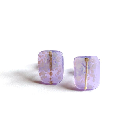 Snowy Crocus Glass and Enamel Handmade Stud Earrings