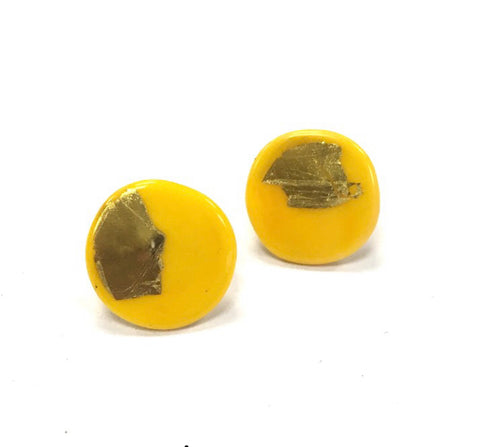 Gold Yellow Handmade Glass Button Stud Earrings