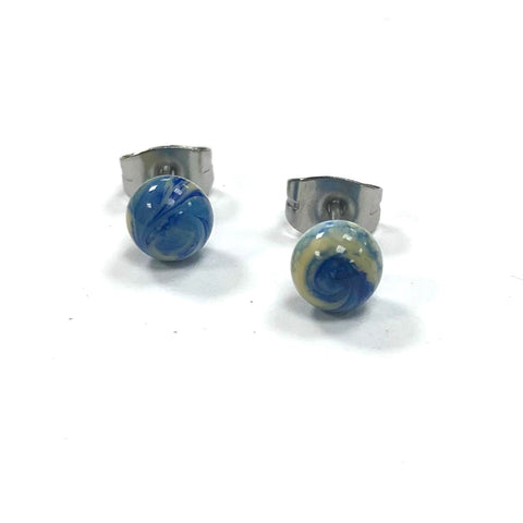 Lapis Swirl Handmade Glass Stud Earrings