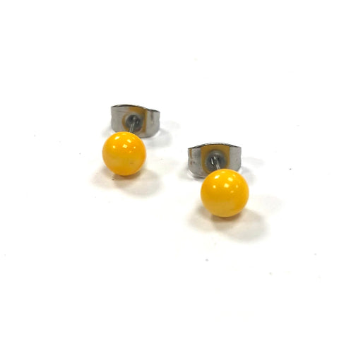 Yellow Handmade Glass Stud Earrings