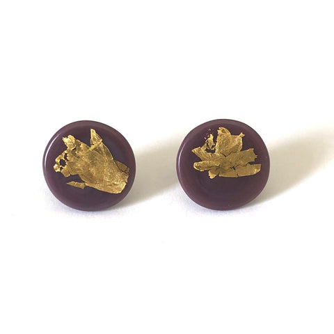 Gold Blackcurrant Handmade Glass Button Stud Earrings