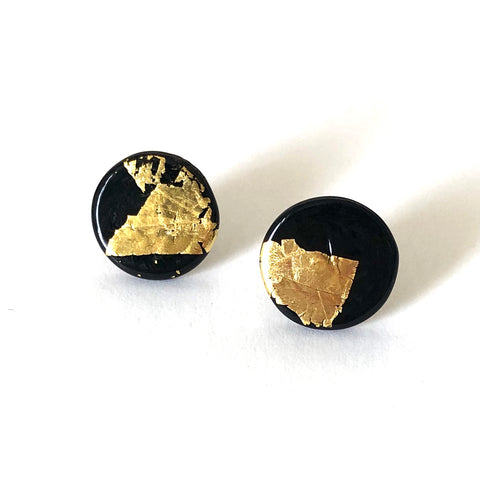 Gold Black Handmade Glass Button Stud Earrings