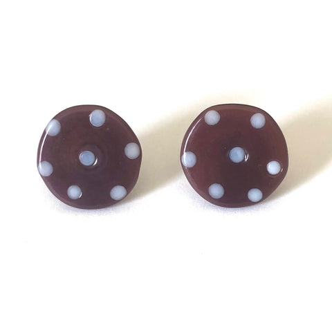 Dotty Blackcurrant Handmade Glass Button Stud Earrings