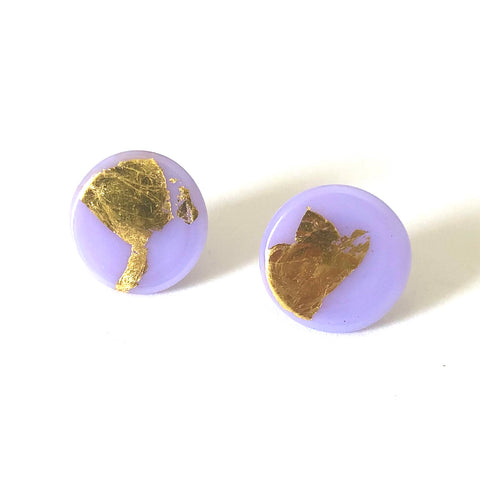 Gold Lilac Handmade Glass Button Stud Earrings