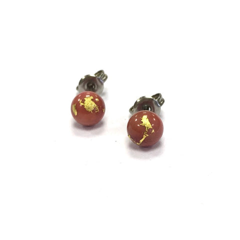 Coral and Gold Handmade Glass Stud Earrings