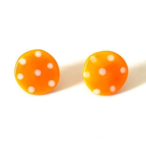 Dotty Orange Handmade Glass Button Stud Earrings