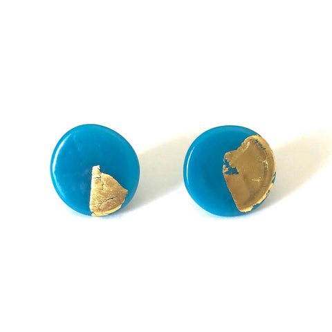 Gold Turquoise Handmade Glass Button Stud Earrings