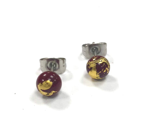Burgundy and Gold Handmade Glass Stud Earrings