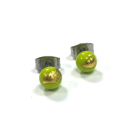 Lime Green and Gold Handmade Glass Stud Earrings