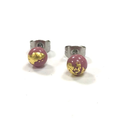 Pink and Gold Handmade Glass Stud Earrings
