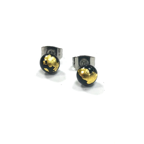 Black and Gold Handmade Glass Stud Earrings