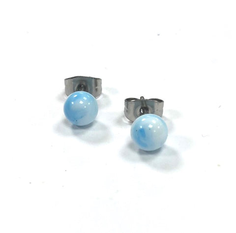 Sky Blue Swirl Handmade Glass Stud Earrings