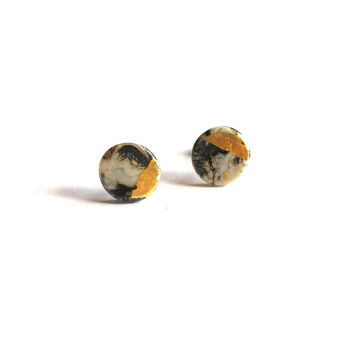 Glass and Gold Midi Stud Earrings, Stone Marble Effect