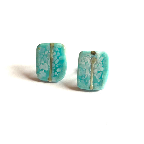 Snowy Sky Blue Glass and Enamel Handmade Stud Earrings
