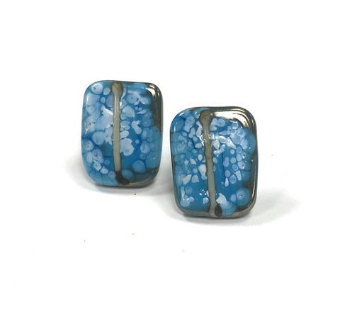 Snowy Copper Blue Glass and Enamel Handmade Stud Earrings