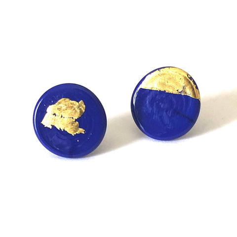 Gold Navy Handmade Glass Button Stud Earrings