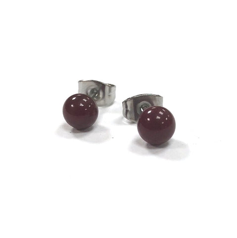 Burgundy Handmade Glass Stud Earrings
