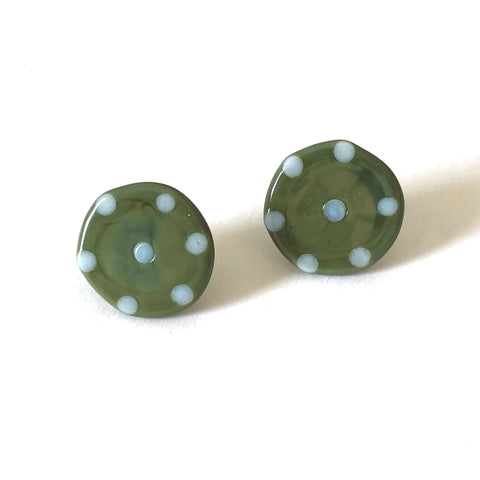 Dotty Olive Handmade Glass Button Stud Earrings