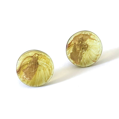 Gold Aventurine Handmade Glass Button Stud Earrings