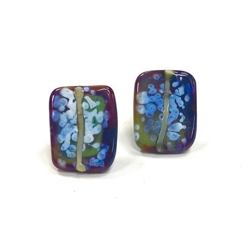 Snowy Raku Glass and Enamel Handmade Stud Earrings
