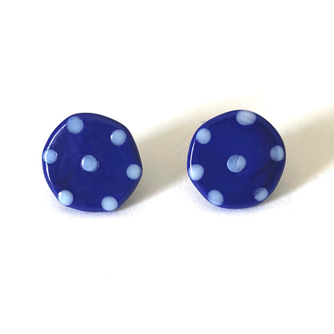 Dotty Navy Handmade Glass Button Stud Earrings