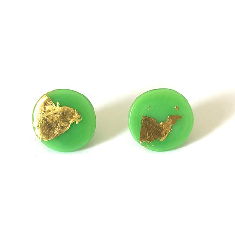 Gold Apple Handmade Glass Button Stud Earrings