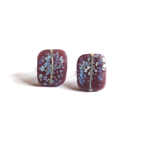 Snowy Blackcurrant Glass and Enamel Handmade Stud Earrings