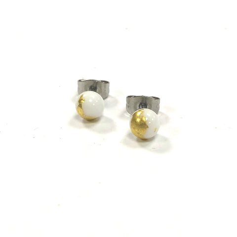 White and Gold Handmade Glass Stud Earrings