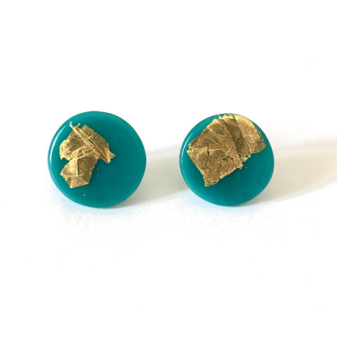 Gold Teal Handmade Glass Button Stud Earrings