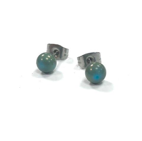Copper Blue Handmade Glass Stud Earrings