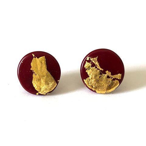 Gold Burgundy Handmade Glass Button Stud Earrings