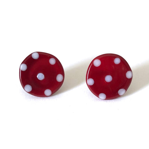 Dotty Burgundy Handmade Glass Button Stud Earrings