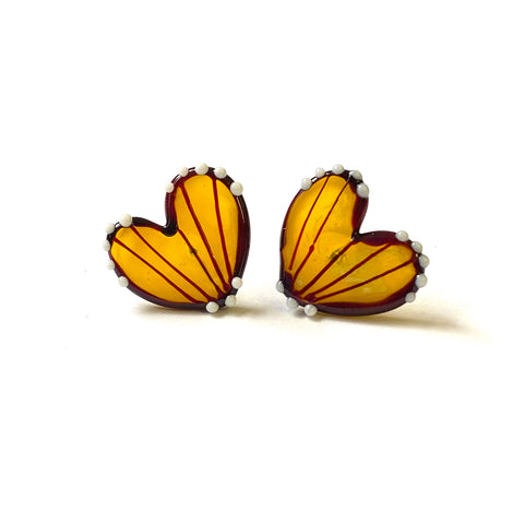 Handmade Butterfly Wing Studs, Yellow