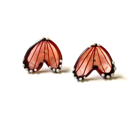 Handmade Butterfly Wing Studs, Pale Pink