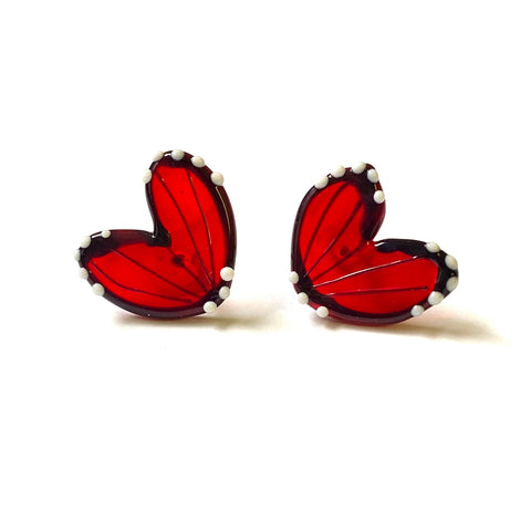 Handmade Butterfly Wing Studs, Ruby