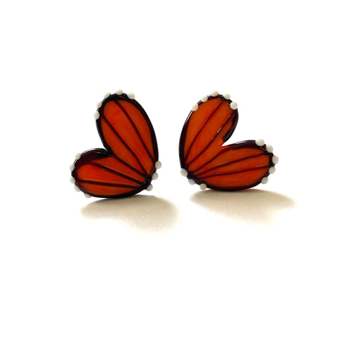 Handmade Butterfly Wing Studs, Opaque Orange