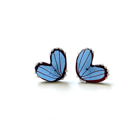 Handmade Butterfly Wing Studs, Steel Blue