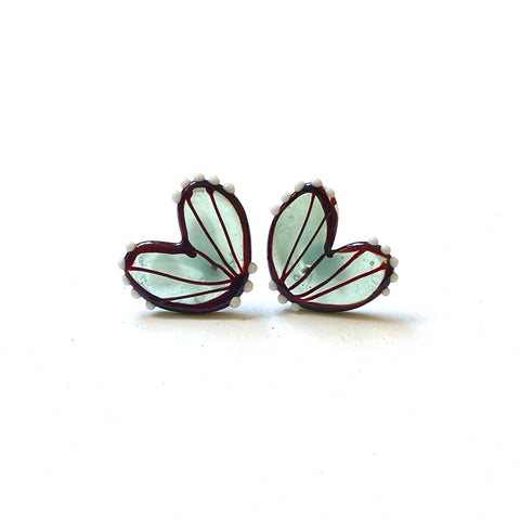Handmade Glass Butterfly Wing Studs, Jade