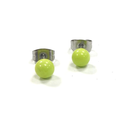 Lime Green Handmade Glass Stud Earrings