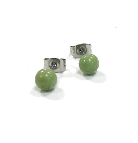 Mint Green Handmade Glass Stud Earrings
