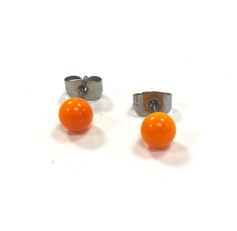 Orange Handmade Glass Stud Earrings
