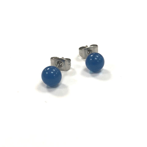 Slate Blue Handmade Glass Stud Earrings