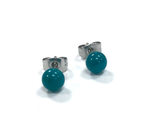 Teal Handmade Glass Stud Earrings