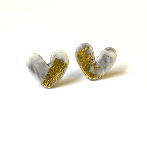 Agate Glass and Gold Marble Heart Studs