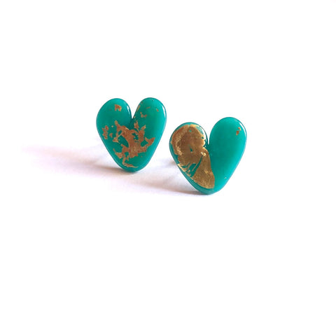 Teal Gold Handmade Glass Heart Stud Earrings